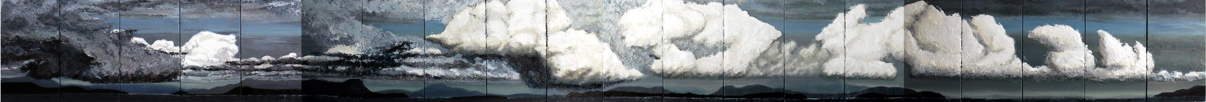 Karolina Jarmolinska, Paradies, 2015, 70x800cm, Oel, Asche, Leinwand