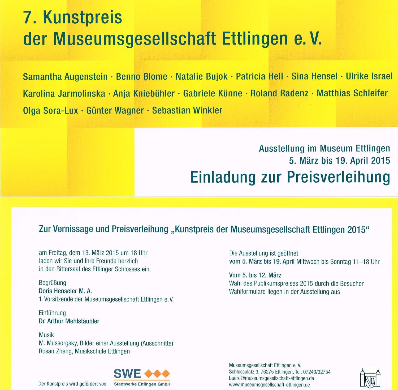 Einladung für die Ausstellung im Schloss Ettlingen
